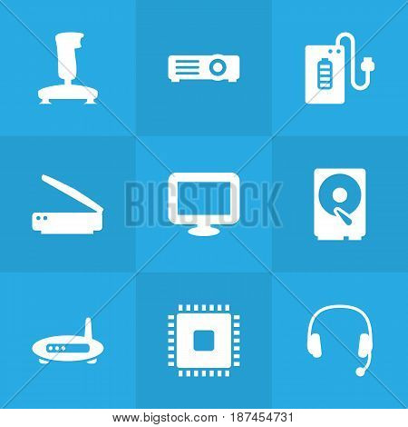 Set Of 9 Computer Icons Set.Collection Of Router, Hard Disk, Headset And Other Elements.