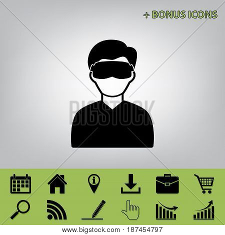 Man with sleeping mask sign. Vector. Black icon at gray background with bonus icons at celery ones