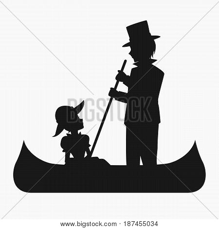 Silhouette of a man paddling a canoe while a woman sitting on the canoe