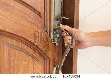 hand hold handle of door close up