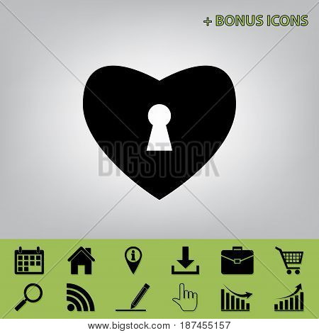 Heart with lock sign. Vector. Black icon at gray background with bonus icons at celery ones