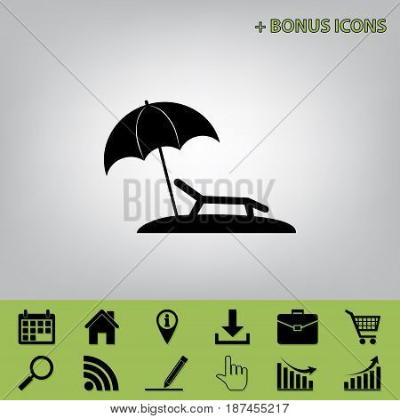 Tropical resort beach. Sunbed Chair sign. Vector. Black icon at gray background with bonus icons at celery ones