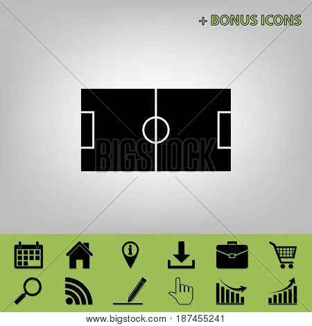 Soccer field. Vector. Black icon at gray background with bonus icons at celery ones