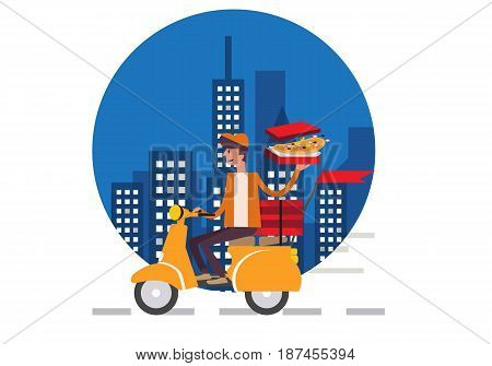 Pizza delivery boy riding motor bike isolated on night city background. food delivery concept flat design vector illustration. eps10