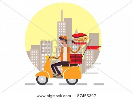 Pizza delivery boy riding motor bike isolated on city background. food delivery concept flat design vector illustration. eps10