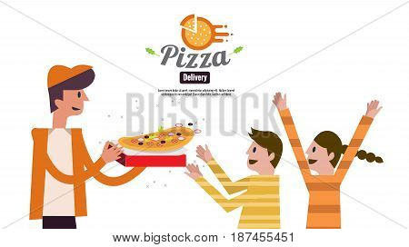 Pizza delivery boy handing pizza box to kids. food ordering and delivery concept. website banner. flat design vector illustration. eps10
