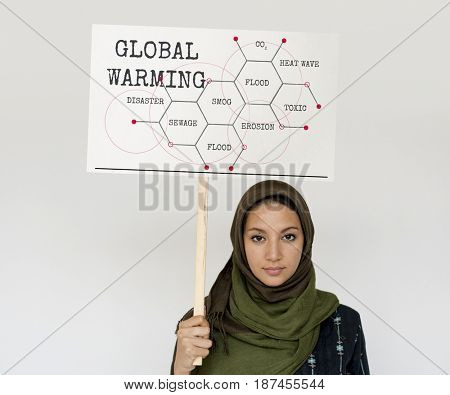 middle eastern girl with global warming campaign