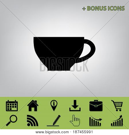 Cup sign. Vector. Black icon at gray background with bonus icons at celery ones