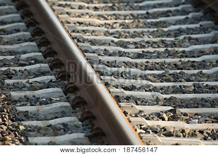 Railway track rail close up