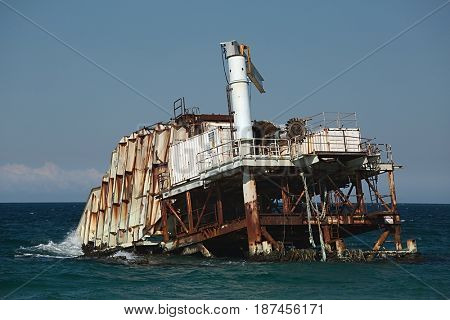 Decayed industrial structure in the sea