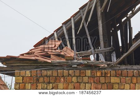 Damaged roof of an old house