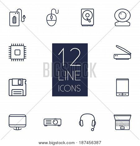Set Of 12 Notebook Outline Icons Set.Collection Of Hdd, Floppy, Headphone And Other Elements.