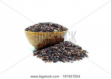 Riceberry, Jasmine rice, Brown rice, Black rice, Thai rice, Asian rice, isolate on white background