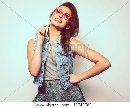 Beautiful young smiling woman over white background