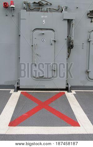 Steel Doors lift in the battleship boat.