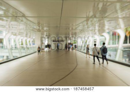 blurred background of modern walkway in ratchaprasong area Bangkok Thailand