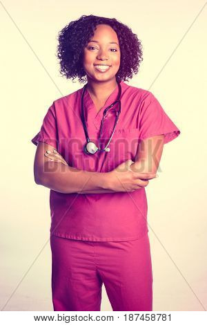 Black woman nurse with stethoscope