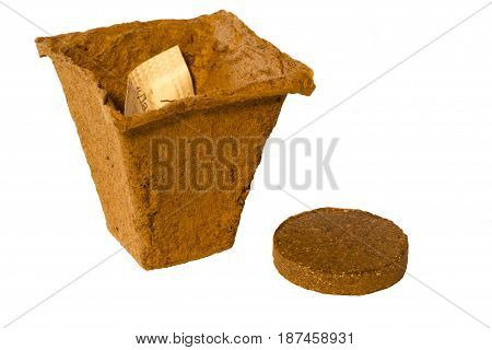 Peat pot for planting plants on white background