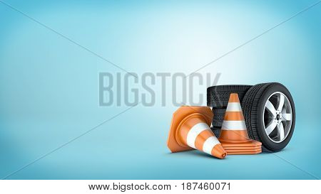 3d rendering of a several car wheels stacked on one another beside several orange and white traffic cones. Transportation safety. Careful driving. Road repair.