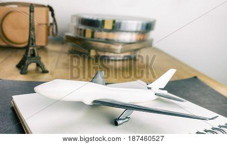 Aeroplane and vintage travel equipment to Paris