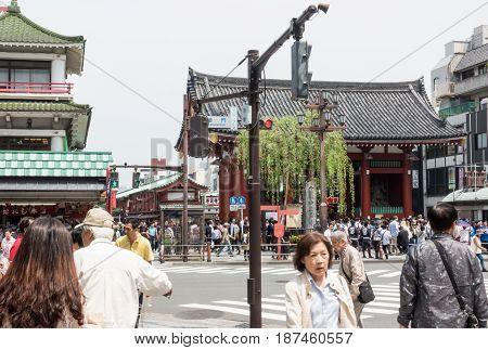 Tokyo Japan - May 1 2017: Tourists and Local are visiting Sensoji Shrine in Asauka Tokyo.