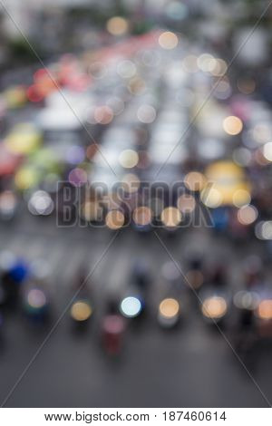 bokeh background of car in red light signal on traffic in Bangkok Thailand