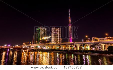Sumida river with Tokyo Skytree lighten up at night