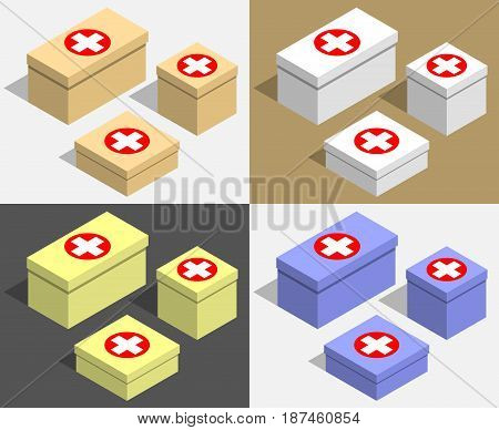 Set of boxes of different sizes with medecine symbols. Multicolored cardboard boxes for medications. Isometric flat vector illustration.