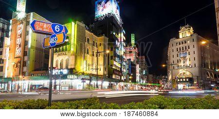 Tokyo Japan - May 2 2017: Night life on Edo Dori shopping street of Asakusa Tokyo.