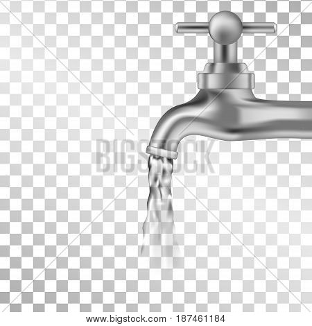 Vector silver tap with water on transparent background. Design for icon. Water falling from tap. Vector illustration.