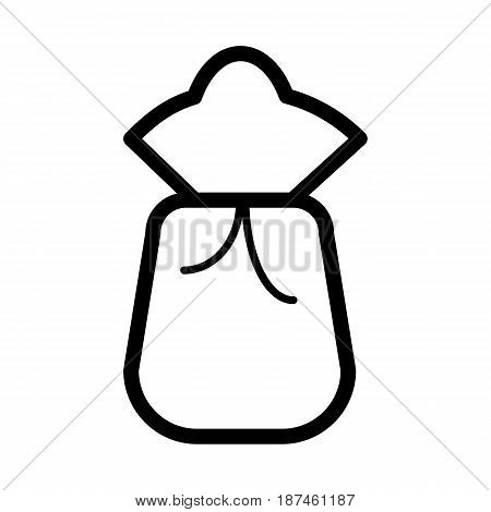 Sack or bag vector icon. Black and white bag illustration. Outline linear icon. eps 10