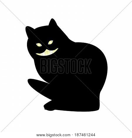 Vector illustration of a smiling and gnashing black cat flat style.