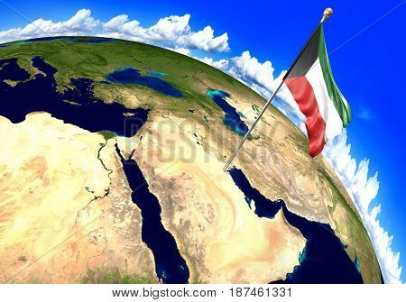 Kuwait national flag marking the country location on world map. 3D rendering, parts of this image furnished by NASA