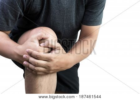 Knee Painful  Man Running With Strong Athletic Legs Holding Knee And Pain