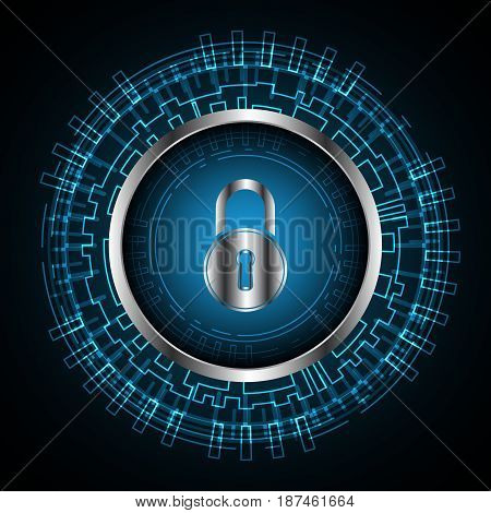 Cyber Security Lock Technology Circle