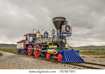 Replica of steam locomotive Jupiter at the Golden Spike National Historic Site in Utah
