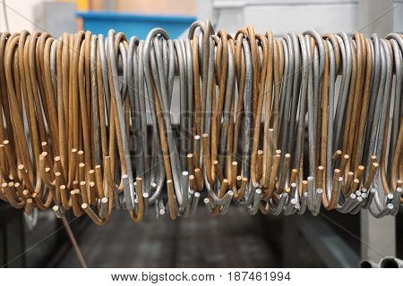 group of iron hooks in the factory