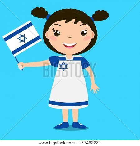 Smiling child, girl, holding a Israel flag isolated on blue background. Cartoon mascot. Holiday illustration to the Day of the country, Independence Day, Flag Day.