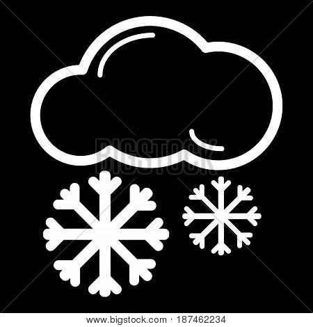 snow cloud meteo icon. Vector illustration isolated on black. eps 10