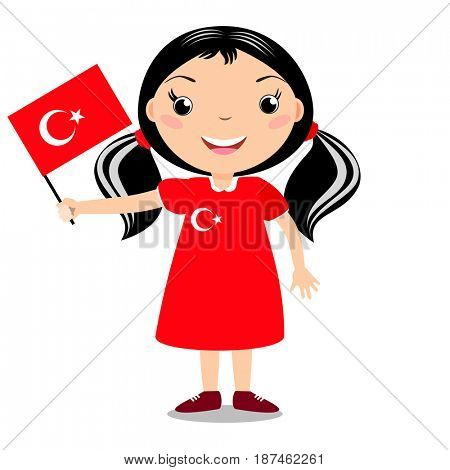 Smiling child, girl, holding a Turkey flag isolated on white background. Cartoon mascot. Holiday illustration to the Day of the country, Independence Day, Flag Day.