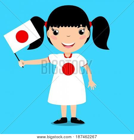 Smiling child, girl, holding a Japan flag isolated on blue background. Cartoon mascot. Holiday illustration to the Day of the country, Independence Day, Flag Day.