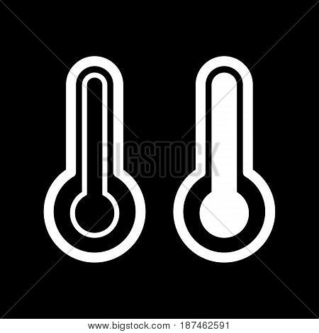 Thermometer vector icon. Black and white temperature illustration. Outline linear icon. eps 10