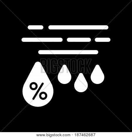 Moisture percentage vector icon. Black and white high humidity illustration. Solid linear weather icon. eps 10