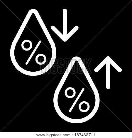 High humidity vector icon. Black and white Humidity increases and decreases illustration. Outline linear icon. eps 10
