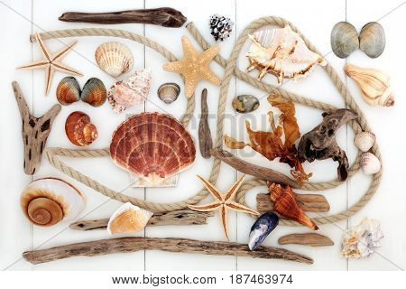 Abstract beach art with driftwood, rope, seashells, rocks and seaweed on white wood forming a background.