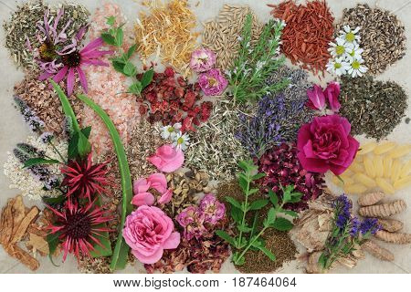 Herbal medicine selection with flowers and herbs to heal skin disorders such as psoriasis and eczema on hemp paper background.