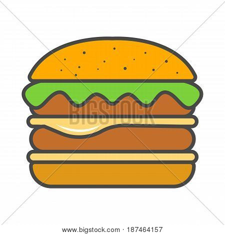 Hamburger or cheeseburger icon vector illustration isolated on white background. Cafe or restaurant fast food snack, eating menu pictogram.