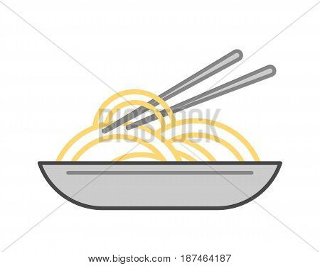 Noodles wok vector illustration isolated on white background. Cafe or restaurant fast food, asian snack, eating menu pictogram.