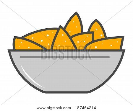 Nacho cheese vector illustration isolated on white background. Cafe or restaurant fast food snack, eating menu pictogram.
