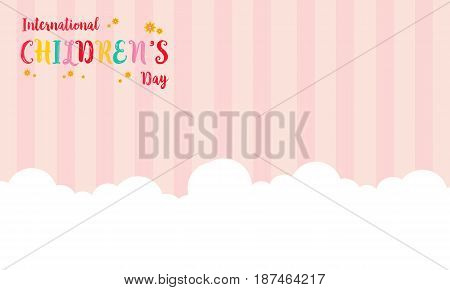 Background childrens day with cloud vector illustration
